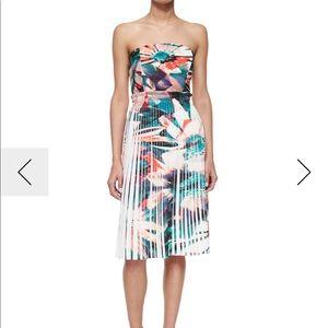 Nicole Miller Pleated Strapless Dress